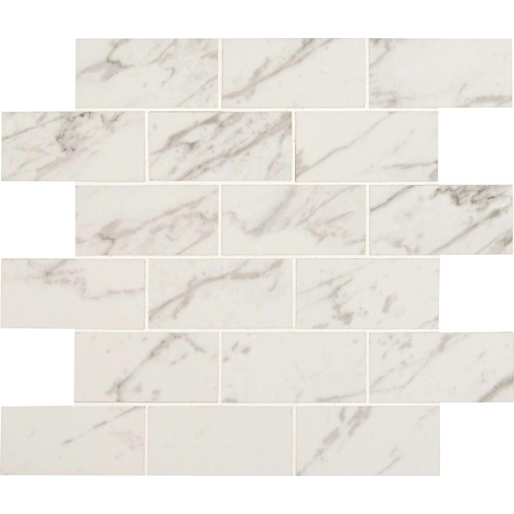 Msi Carrara 12 In X 10 Mm Polished Porcelain Mesh Mounted Mosaic Tile Npiecar2x4p The Home Depot