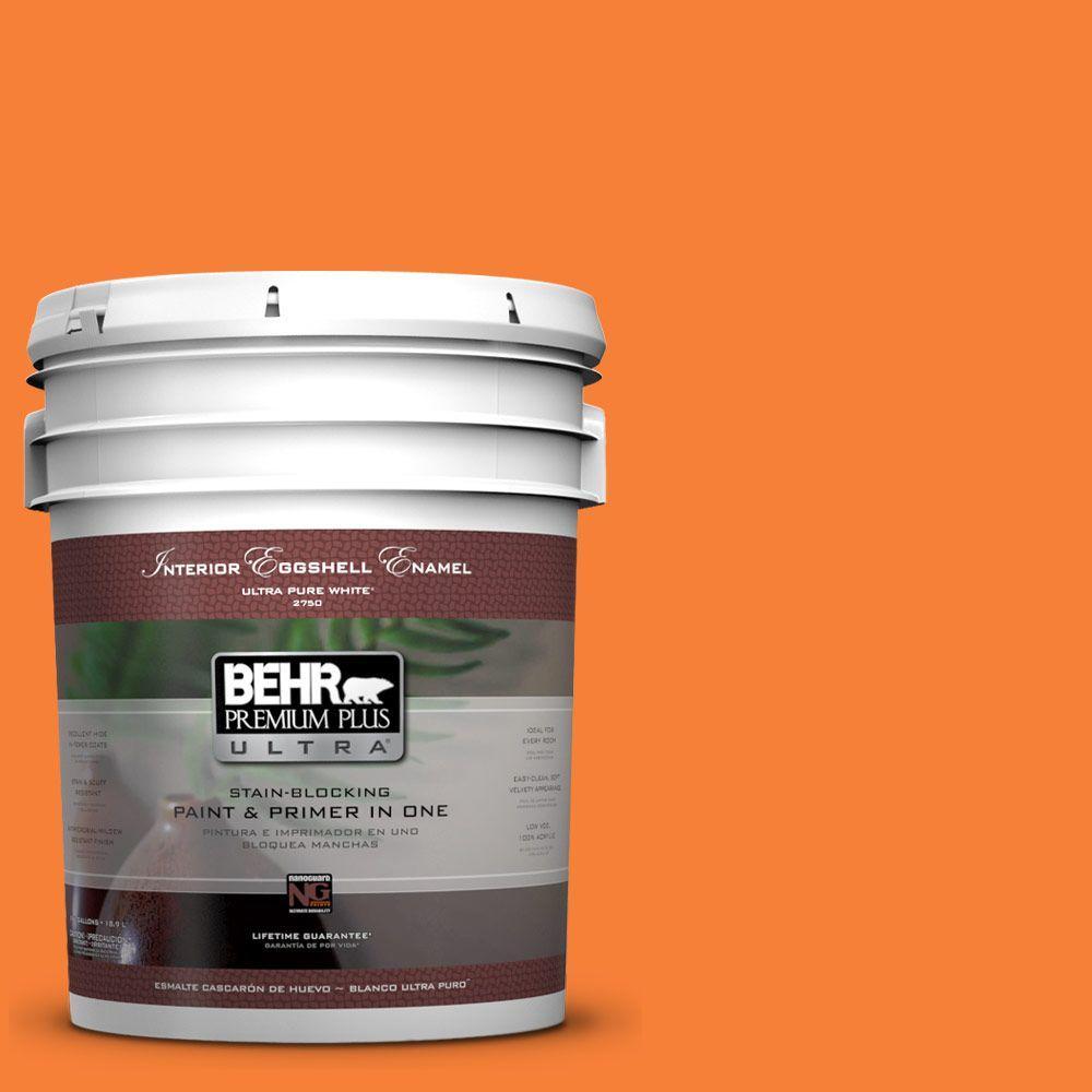 BEHR Premium Plus Ultra 5-gal. #230B-6 Orange Burst Eggshell Enamel Interior Paint