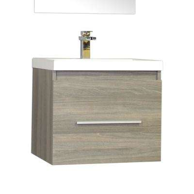 Ripley 24 in. W x 18.75 in. D x 21 in. H Vanity in Gray with Acrylic Vanity Top in White with White Basin