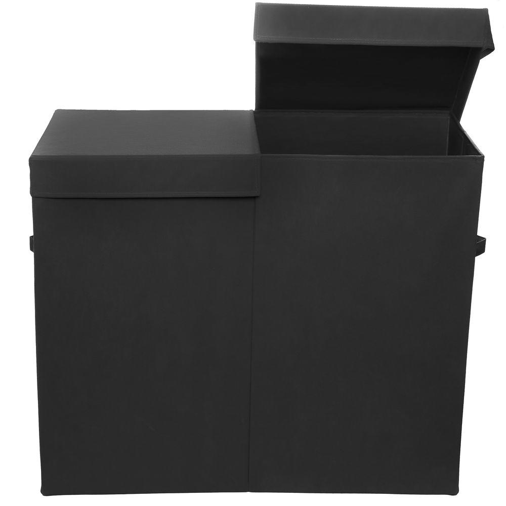 Modern littles smarty pants solid black folding double laundry basket