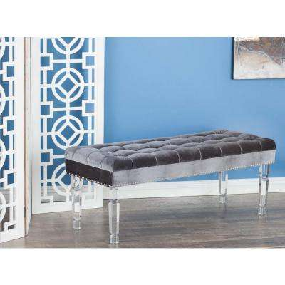 18 in. x 48 in. Modern Acrylic and Wood Velour Bench in Gray