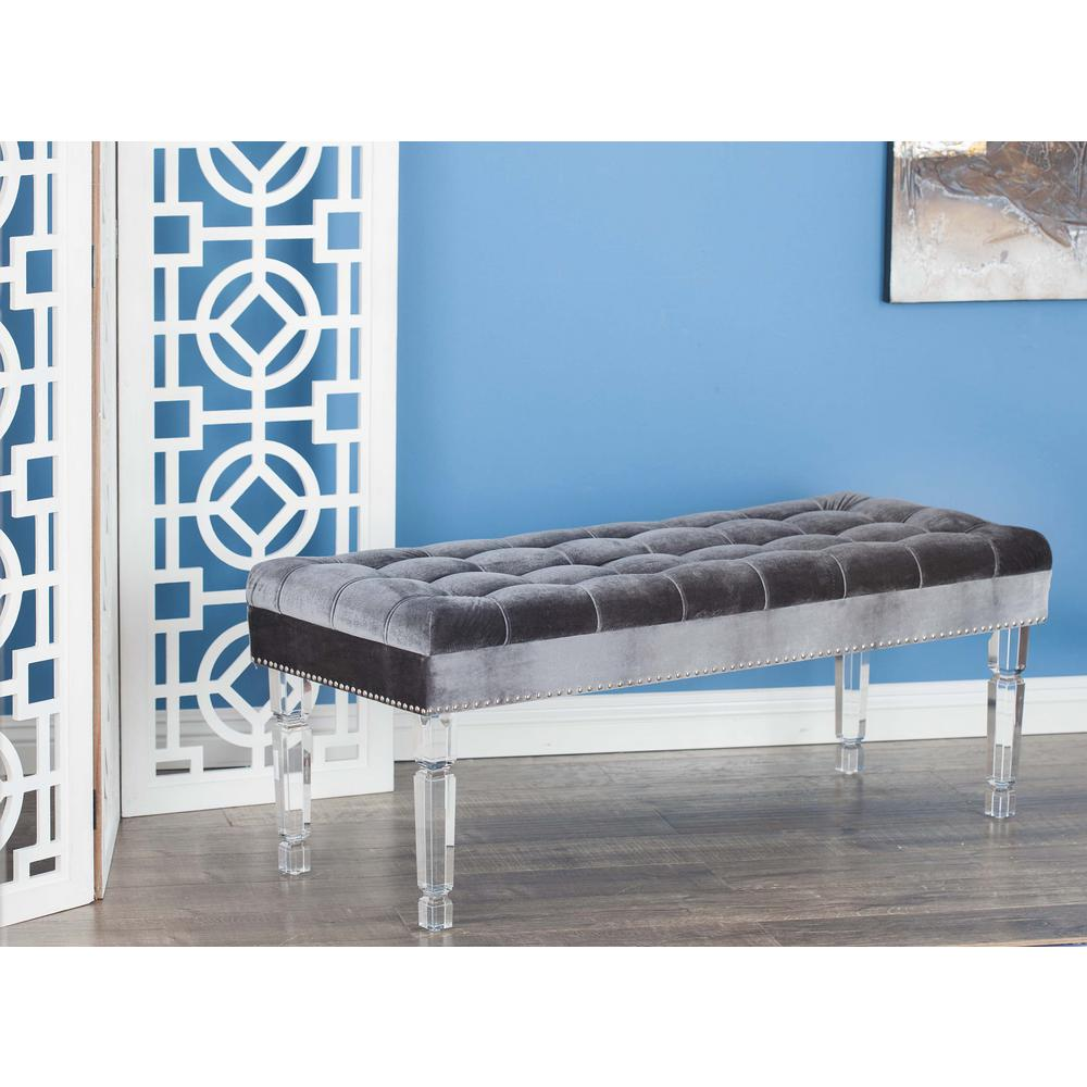 Modern acrylic and wood velour bench in gray