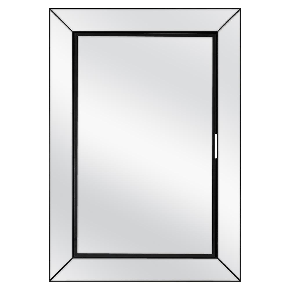 Home Decorators Collection 23-1/2 in. W x 33-1/2 in. H Fog Free Framed Recessed or Surface-Mount Mirror on Mirror Bath Medicine Cabinet in Black