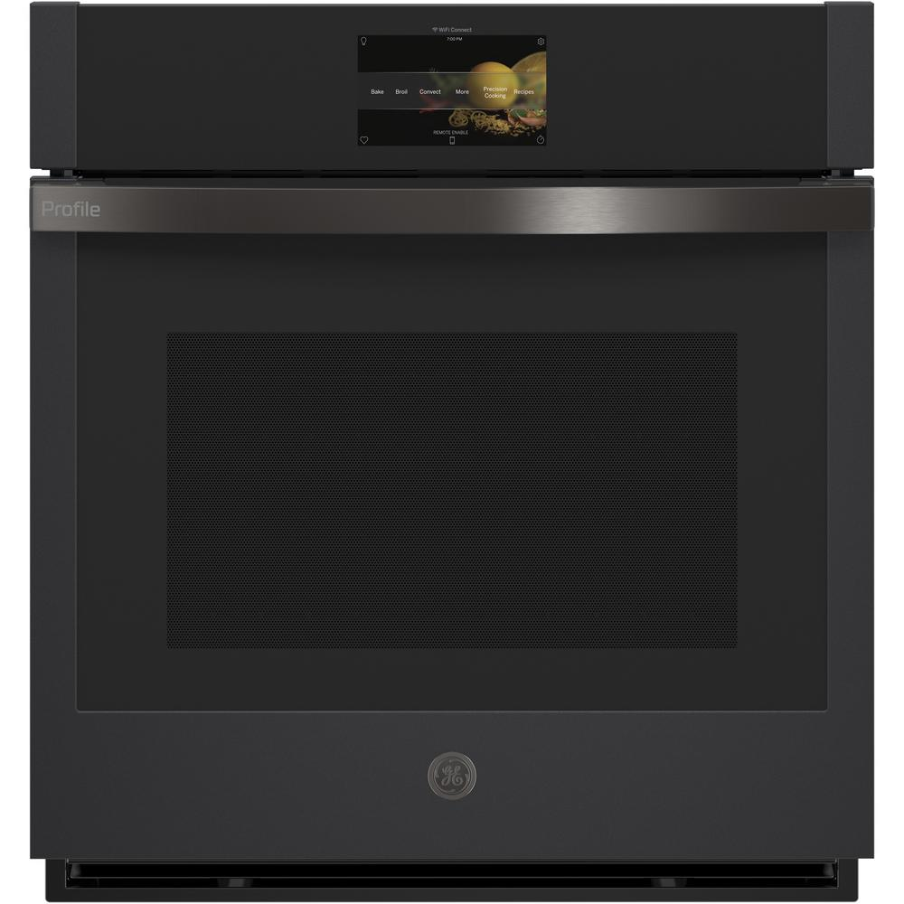 GE Profile 27 in. Smart Single Electric Smart Wall Oven with Convection Self-Cleaning in Black Slate, Fingerprint Resistant