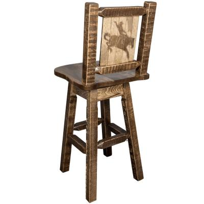 Homestead Collection 30 in. Early American Laser Engraved Bronc Motif Bar Stool with Swivel Seat and Back