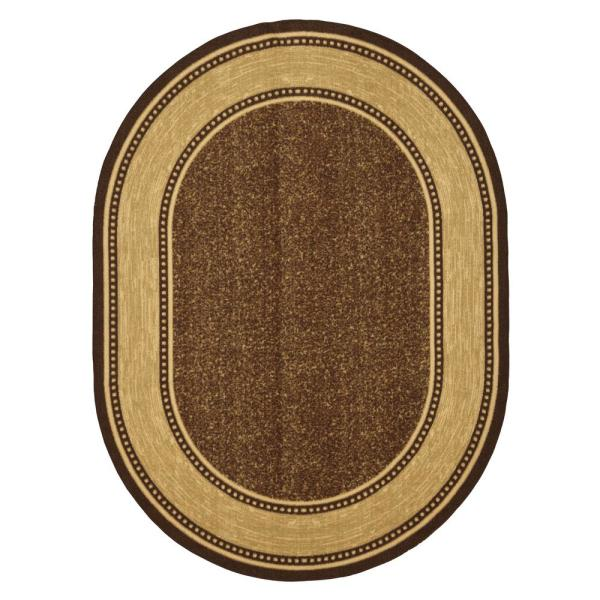 Ottohome Collection Brown 5 ft. x 7 ft. Bordered Design Oval Area Rug