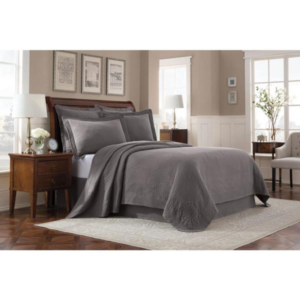 Royal Heritage Home Williamsburg Abby Grey Queen Coverlet 048975015780