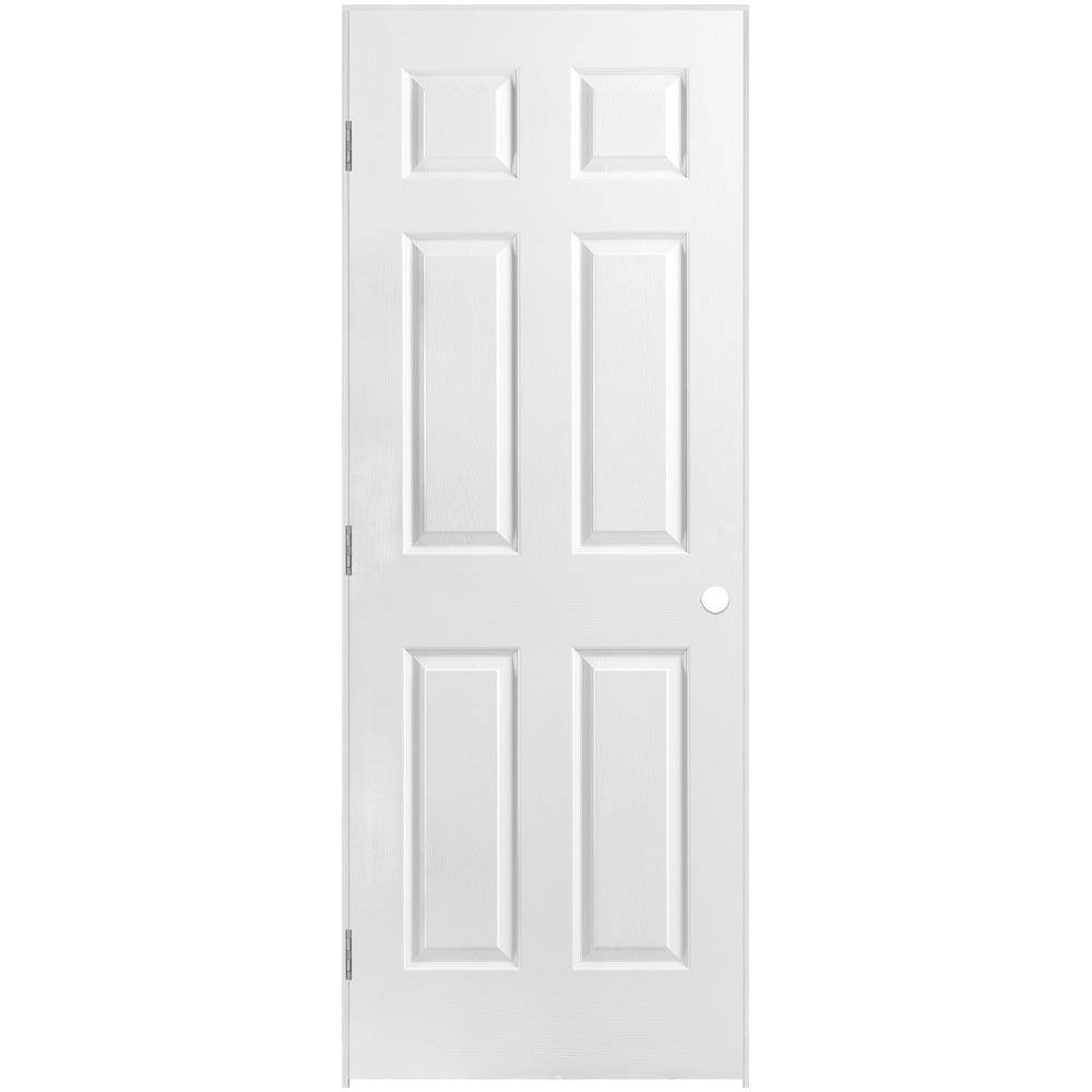 30 in. x 80 in. 6-Panel Right-Handed Hollow-Core Textured Primed Composite Single Prehung Interior Door