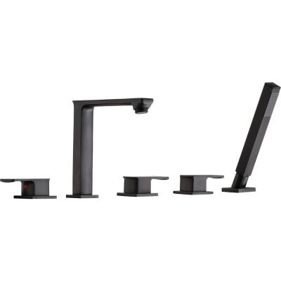 Shore 3-Handle Deck-Mount Roman Tub Faucet with Handheld Sprayer in Oil Rubbed Bronze