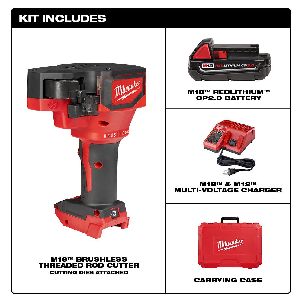 Milwaukee M18 18-Volt Lithium-Ion Cordless Brushless Threaded Rod Cutter  Kit with 2 0 Ah Battery, Charger and Case