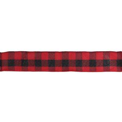 2.5 in. x 16 yds. Red and Black Buffalo Plaid Wired Craft Ribbon