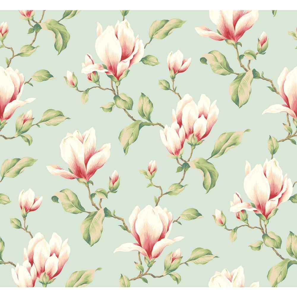 York wallcoverings magnolia branch wallpaper yv8996 the home depot - Magnolia background ...