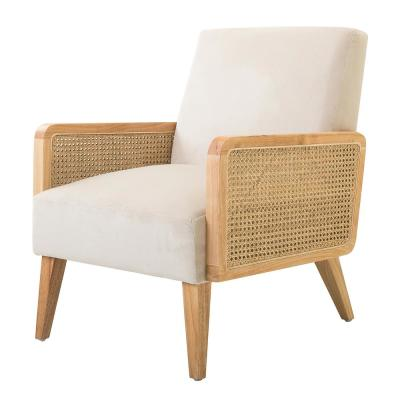 Delphine Beige Natural Legs Cane Accent Chair