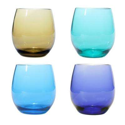 Jewel Tone Plastic BPA Free Stemless Glasses (Set of 4)