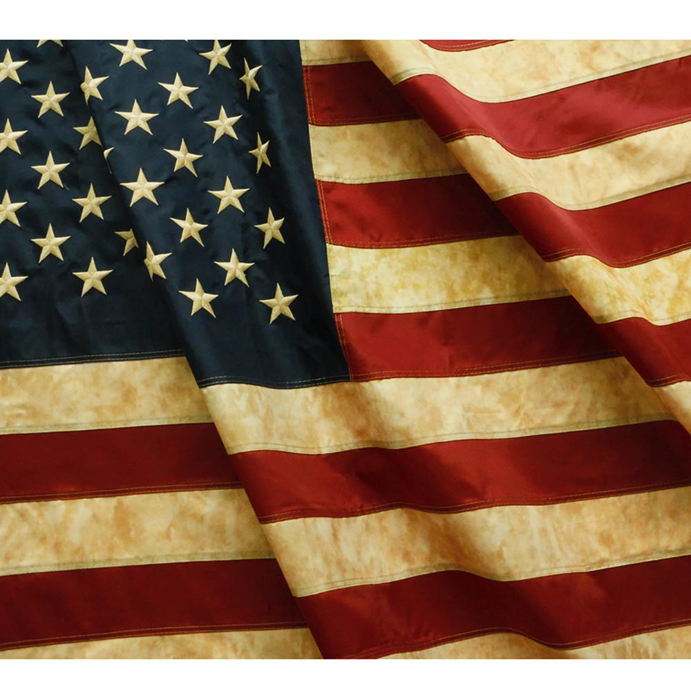 4be269b016a Vintage Style Tea Stained American US Flag 3 ft. x 5 ft. Nylon Embroidered  Stars and Sewn Stripe Antique USA Banner Flag