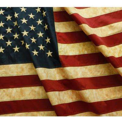 Vintage Style Tea Stained American US Flag 3 ft. x 5 ft. Nylon Embroidered Stars and Sewn Stripe Antique USA Banner Flag
