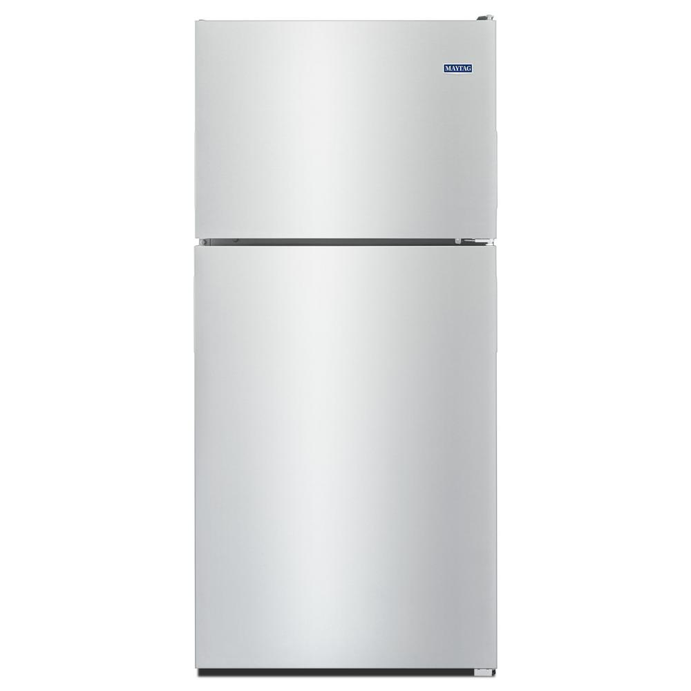Maytag 33 in. W 21 cu. ft. Top Freezer Refrigerator in Monochromatic ...