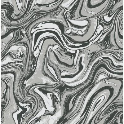 Mindy Metallic Silver and Ebony Marbled Wallpaper