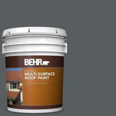 5 gal. #N500-6 Graphic Charcoal Flat Multi-Surface Exterior Roof Paint