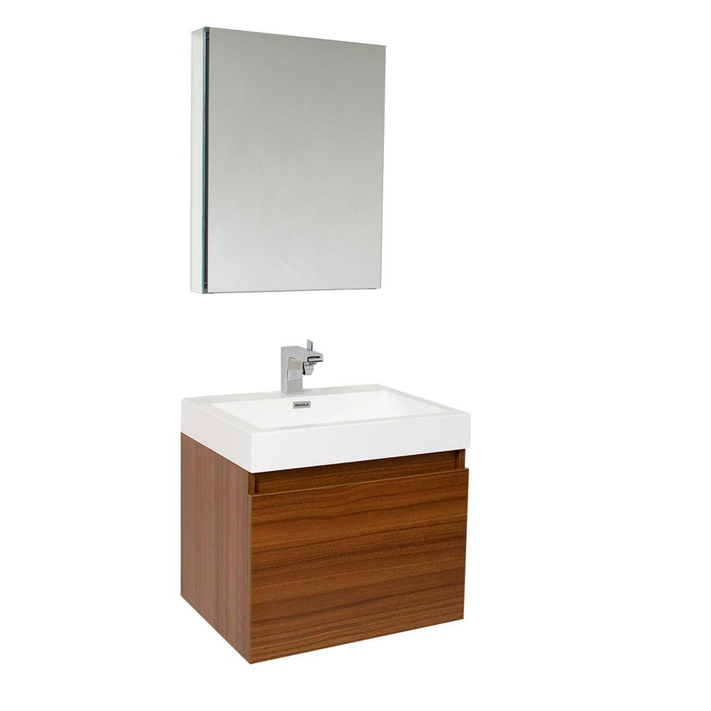 Fresca Nano 24 in. Vanity in Teak with Acrylic Vanity Top in White ...