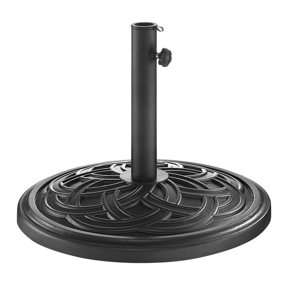 Circle Weave Round Metal Patio Umbrella Base in Black