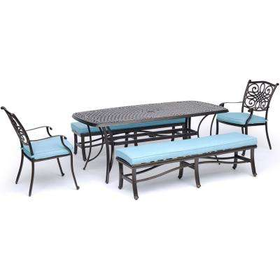 Traditions 5 Piece Aluminum Outdoor Dining Set With Blue Cushions And Cast Top Tables