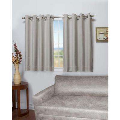 Tacoma 50 in. W x 54 in. L Polyester Double Blackout Grommet Window Panel in Stone