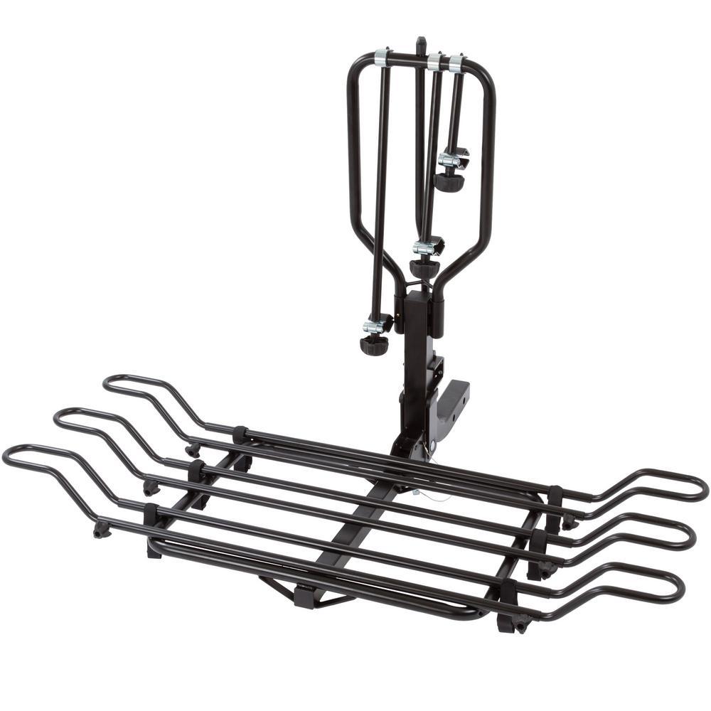 3-Bike Hitch-Mounted Steel Tray Bicycle Rack