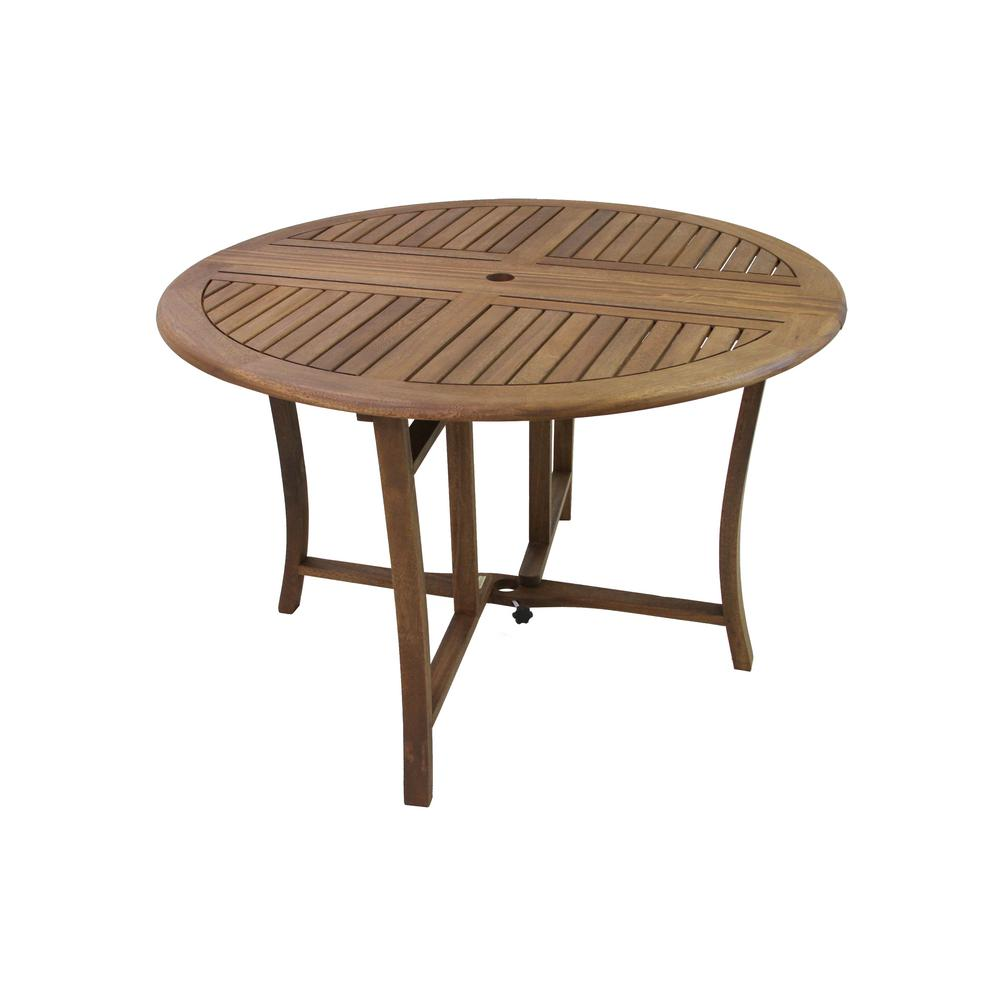 Outdoor Interiors 48 In Dia Eucalyptus Outdoor Dining Table With Drop Leaf