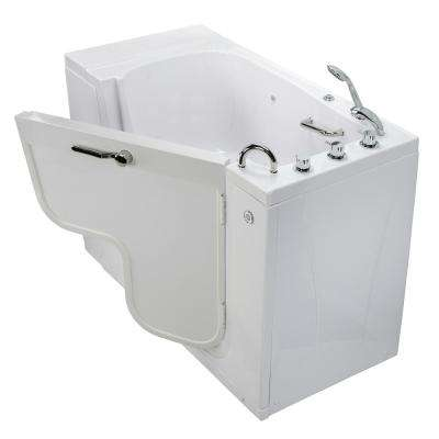 Wheelchair Transfer 52 in. Acrylic Walk-In MicroBubble Air Bath Bathtub in White, Faucet Set, Heated Seat, RH Dual Drain