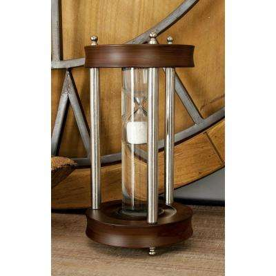 5 in. x 10 in. Cherrywood Brown Mango Wood, Silver Aluminum and Clear Glass Floating Sandtimer