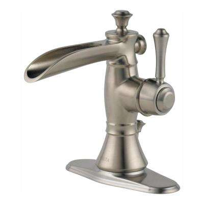 Cassidy Single Hole Single-Handle Open Channel Spout Bathroom Faucet with Metal Drain Assembly in Stainless
