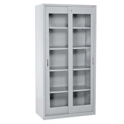 72 in. H x 36 in. W x 18 in. D Freestanding Clear View Sliding Door Steel Cabinet in Dove Gray
