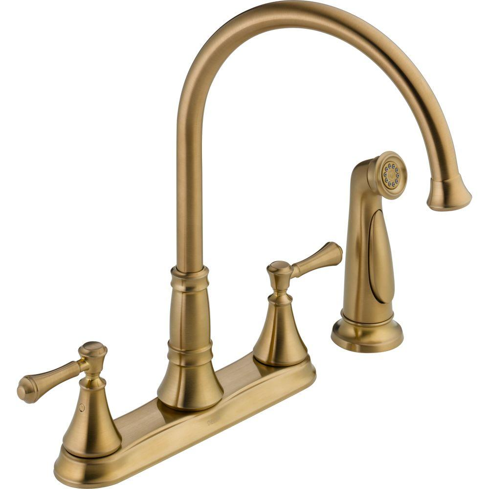 Attirant Delta Cassidy 2 Handle Standard Kitchen Faucet With Side Sprayer In  Champagne Bronze