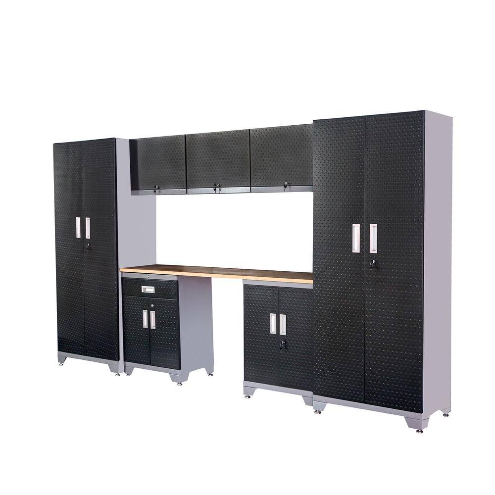 D 22 Gauge Steel Garage Storage Cabinet Set With Wooden Top In Black 8 Piece