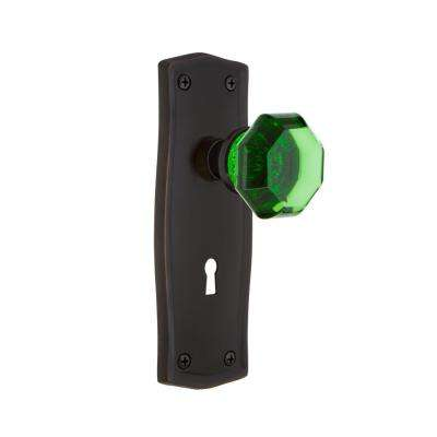 Prairie Plate with Keyhole 2-3/4 in. Backset Timeless Bronze Privacy Waldorf Emerald Door Knob