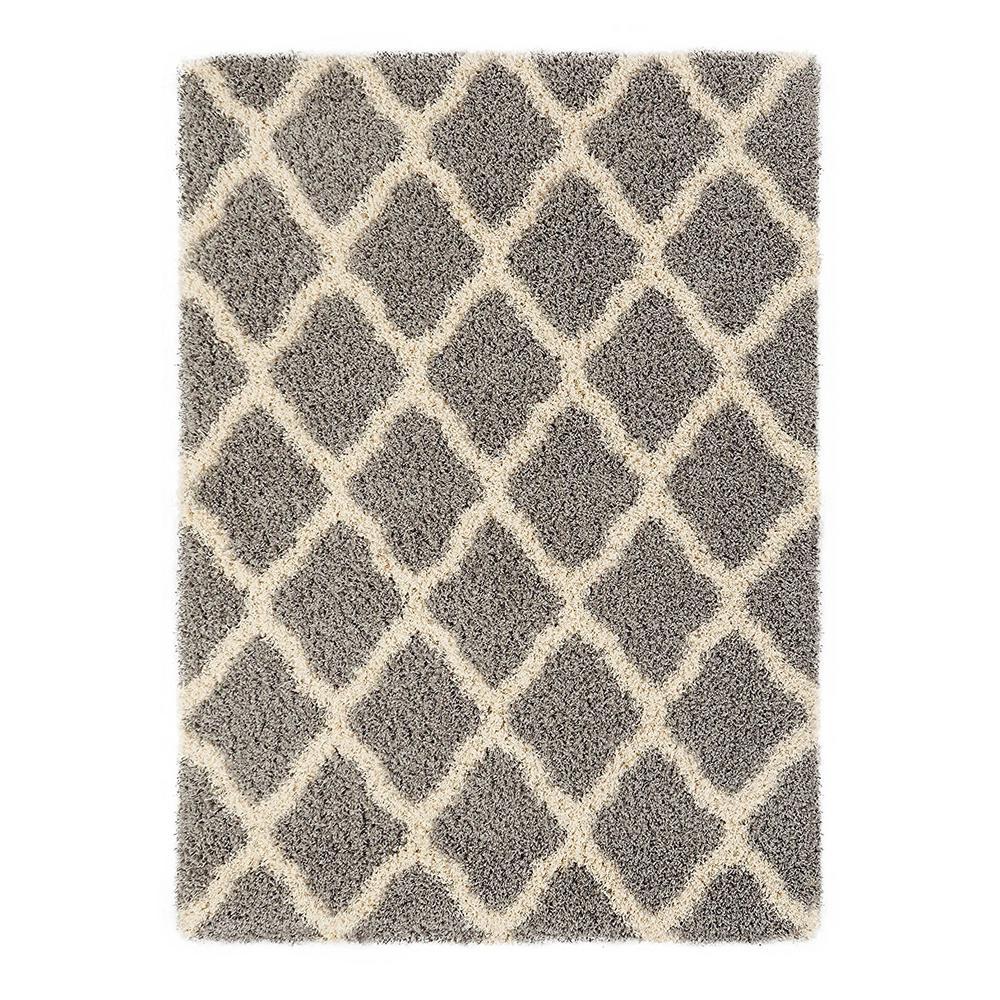 cozy shag collection gray and cream moroccan trellis design 5 ft