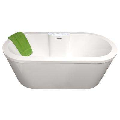 Eveline 66 in. Flatbottom Non-Whirlpool Freestanding Bathtub in Biscuit