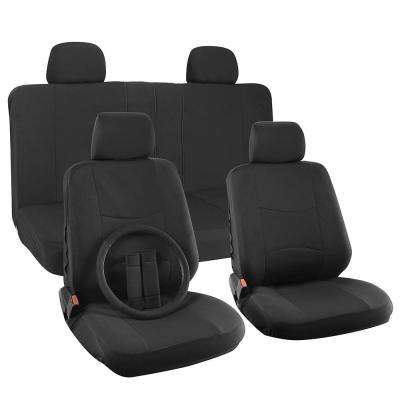 Polyester Seat Covers Set 26 in. L x 21 in. W x 48 in. H 17-Piece Seat Cover Set Broken Striped Solid Black