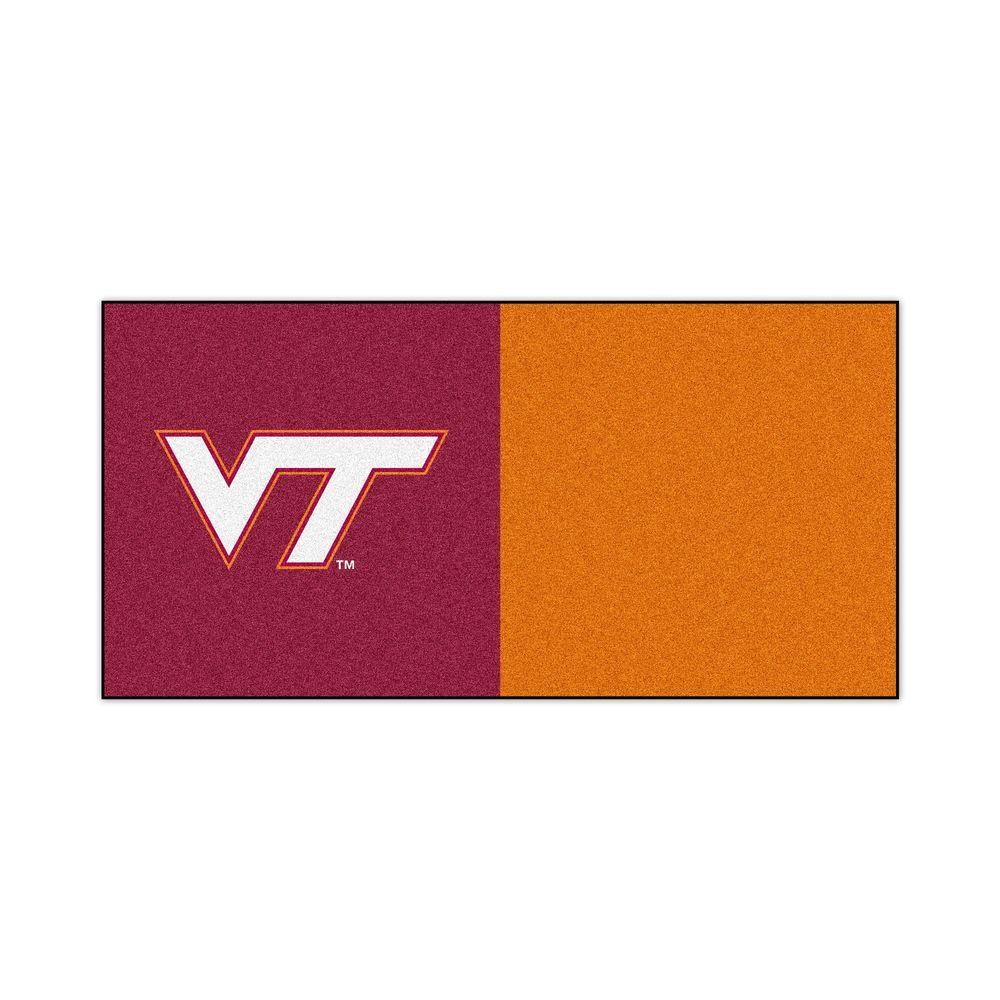 TrafficMASTER NCAA - Virginia Tech Orange and Maroon Nylon 18 in. x 18 in. Carpet Tile (20 Tiles/Case)