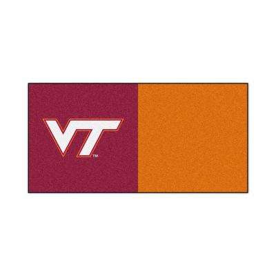 NCAA - Virginia Tech Orange and Maroon Nylon 18 in. x 18 in. Carpet Tile (20 Tiles/Case)