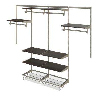 Closet Culture 16 in. D x 96 in. W x 78 in. H Steel Closet System with 8 Espresso Wood Shelves