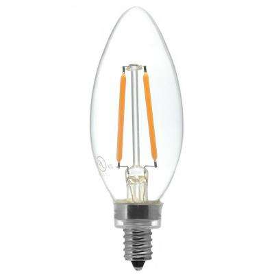 25W Equivalent Candelabra Base (E12) Warm White (2700K) Dimmable Clear LED Blunt Tip C11 Light Bulb