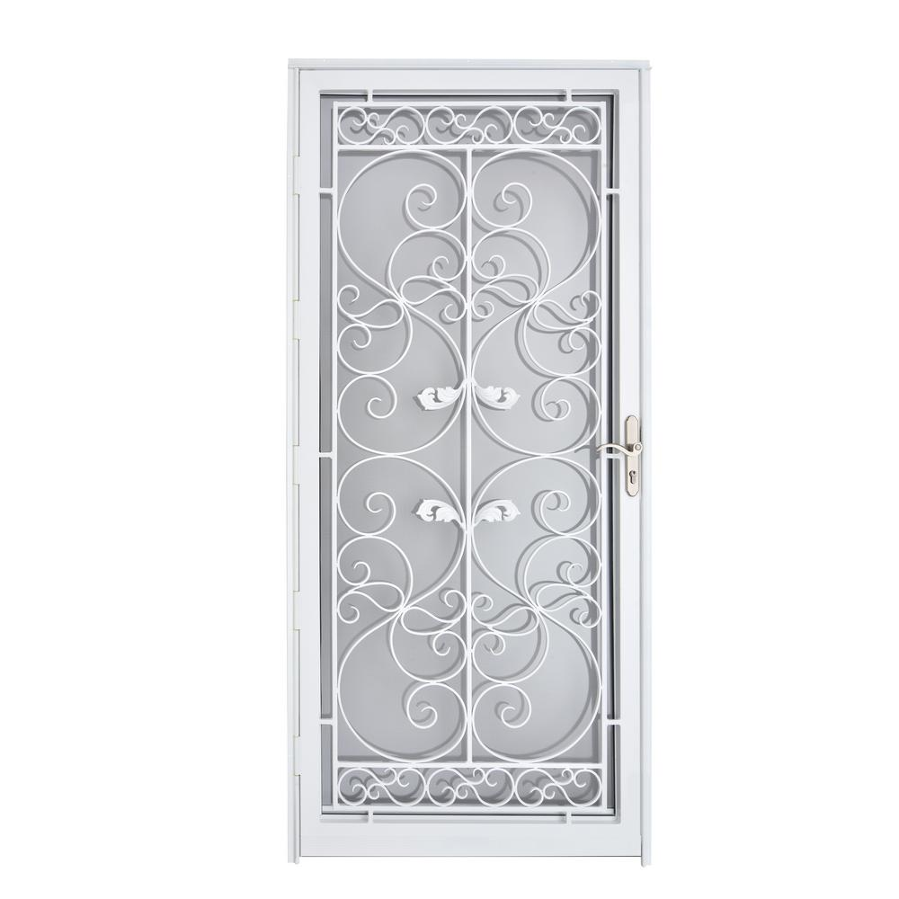 Naples 36 in. x 80 in. White Full View Wrought Iron Security Storm Door with Reversible Hinging