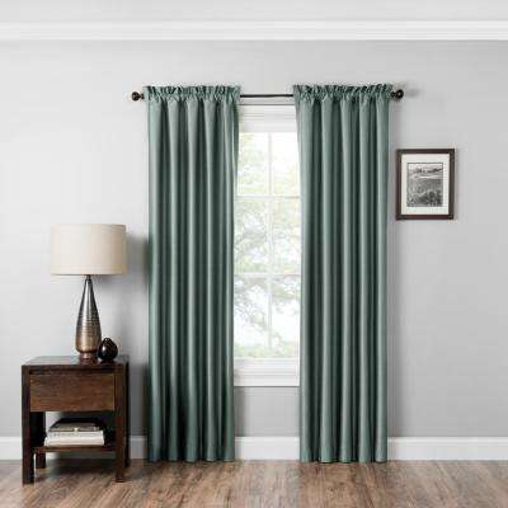 Blackout Miles 63 in L Black Rod Pocket Curtain