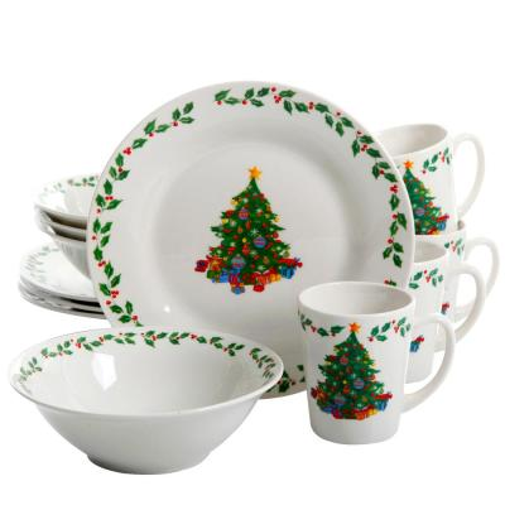 Joyous Gathering 12-Piece White Dinnerware Set