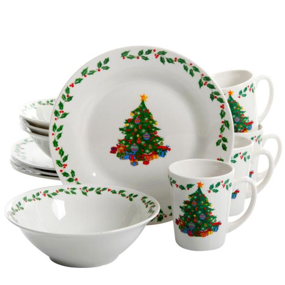 Gibson Home Joyous Gathering 12-Piece White Dinnerware Set 98599983M