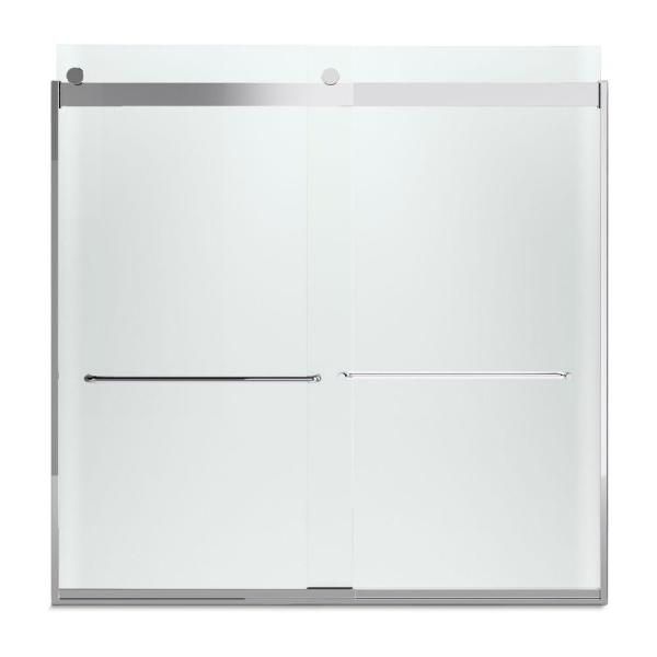 KOHLER Levity 57 in. x 59.75 in. Semi-Frameless Sliding Tub Door in Silver with Handle