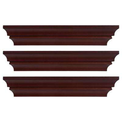 Madison 16 in. x 4 in. Espresso Contoured Wall Ledge and Shelf (Set of 3)
