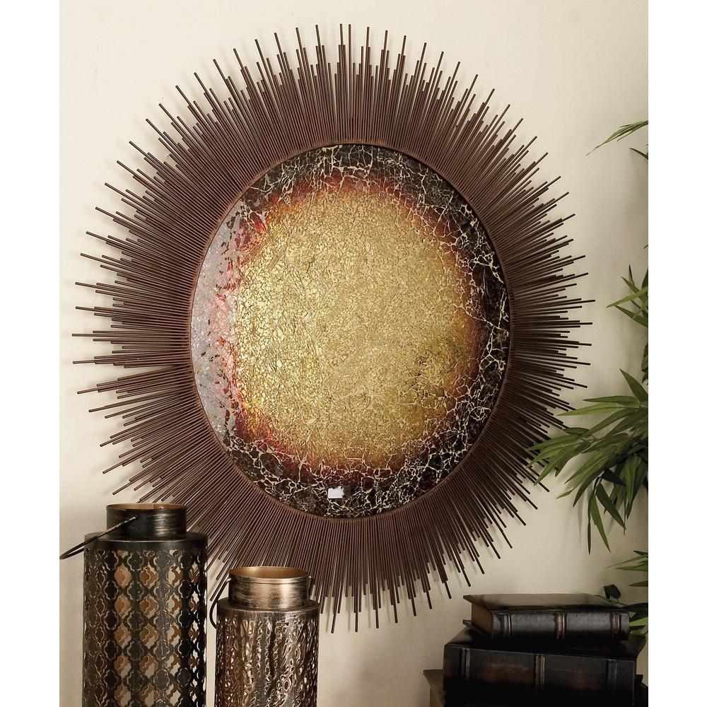 Wood and Metal Bronze Abstract Sunscape Wall Decor
